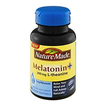 Amazon.com : Nature Made Melatonin+ 200mg L-Theanine Dietary Supplement Liquid Softgels - 60 CT (Pack of 2) : Medicinal Sleep Aids : Beauty