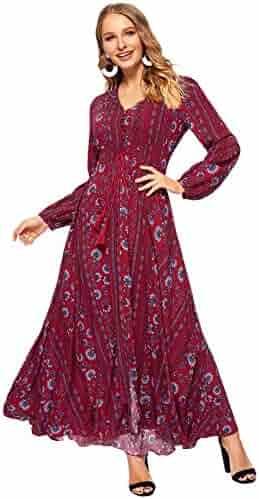 7e2246fb917 Milumia Women's Button Up Split Floral Print Flowy Party Maxi Dress