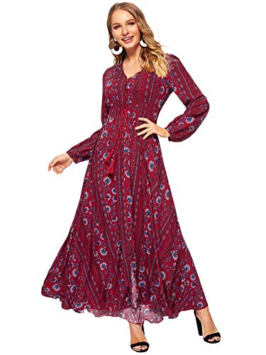 Milumia Women Tassel Tie Smocked Waist Button Up Botanical Dress Burgundy - Smocked A-line