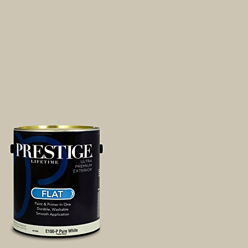 Prestige Paints Exterior Paint and Primer In One, 1-Gallon, Flat,  Comparable Match of Benjamin Moore Coastal Fog