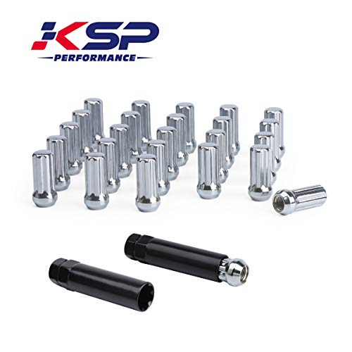 14mm-1.5 Wheel Lug Nuts, KSP Black Acorn/Conical M14X1.5 Closed Bulge Cone Seat 2'' Tall with 2 Socket Keys Fits Chevy GMC Dodge Ford 6 Lug Aftermarket Wheels, 1 Year Warranty