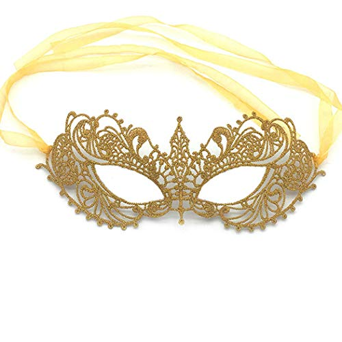 iMapo Masquerade Mask, Mardi Gras Masks for Women Lady Girls, Halloween Christmas Cosplay Venetian Party Prom Ball Lace Eye Masks - Gold]()