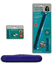 Sulcabrush Flosser with Travel Case and 2 Replacement Tips for Oral Hygiene Flossing Gum Health. Remove Plaque