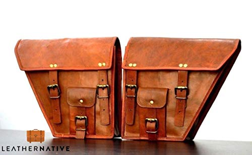 Leather Native 2 X Motorcycle Side Pouch Brown Leather Side Pouch Classic Saddlebags Saddle Panniers (2 Bags) Summer Sale!