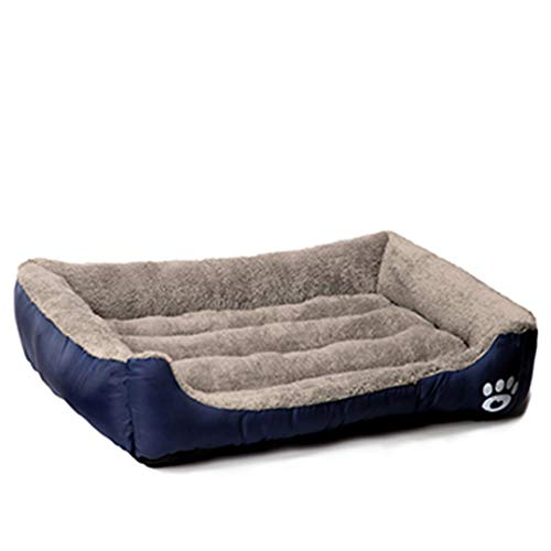 (AIgouda Pet Dog Bed Warming Dog House Soft Material Nest Dog Baskets Warm Kennel for Cat Puppy Plus Size Navy Blue M)