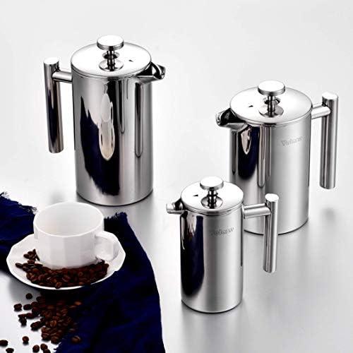 Velaze Cafetière à Piston, Français Presse en Acier Inoxydable de 350ML, avec Filtres à Café, Double Parois Incassable, Cuillère à Café-S, pour 2-3 Tasses