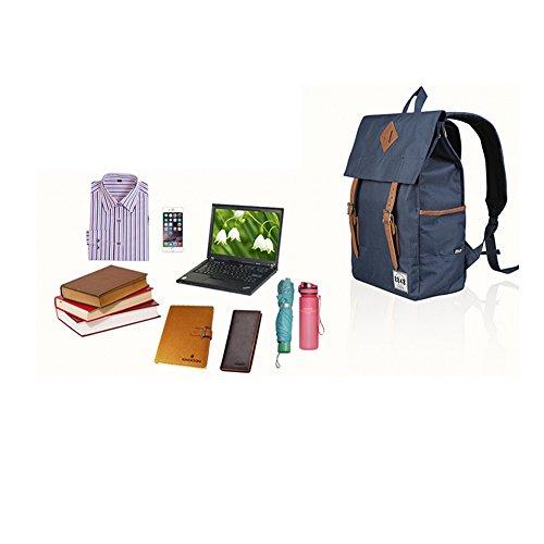 YAAGLE Rucksack Damen und Herren Unisex schick mit Deckel Schultertasche Schulrucksack Laptoptasche-schwarz grün p3uh56PM