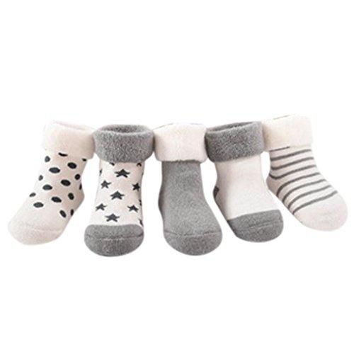 tenworld-5-pack-0-18-months-unisex-baby-anti-slip-socks-boots-slipper-shoes-11cm-gray