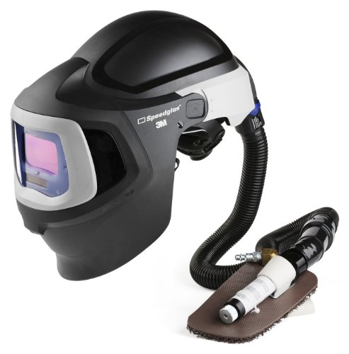 3M Speedglas Fresh-Air III Supplied Air System with V-100 Vortex Air-Cooling Valve and Speedglas Welding Helmet 9100 MP with Hard Hat, Side Windows and Standard Size Auto-Darkening Filter 9100V-Shades 5, 8-13, Model 27-5702-10SW