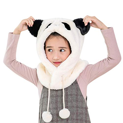Amaping Baby Girls Winter Warm Earflap Cute Panda Hooded Scarf Cap Wrap with Ear Covering Tassel (White) ()