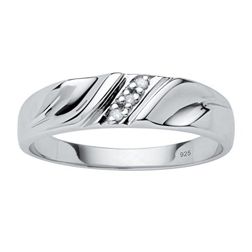 Men's White Diamond Accent Platinum over .925 Sterling Silver Wedding Band Size (Platinum Diamond Wedding Anniversary Ring)