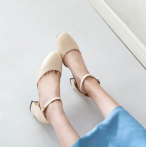 Beige Janes Casual Classics Mary Fermé Escarpin Chaussures Talon Xinwcang Bout Escarpins Femme Carré xw7BBAq