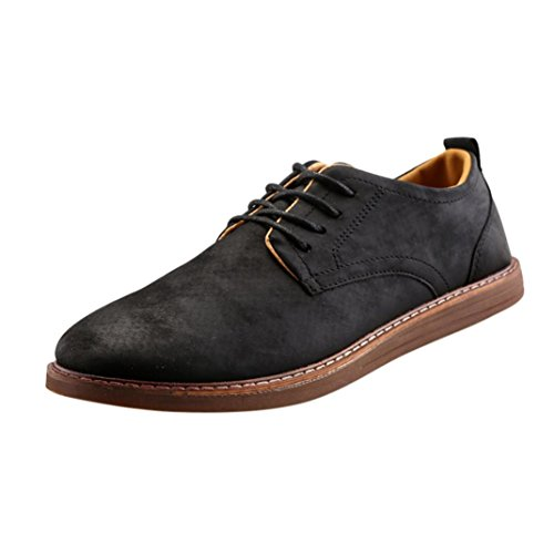 OverDose Herren Männer Mode Lace up Business Arbeit England Casual Leder Schuhe Stiefel Freizeit Schuhe Black