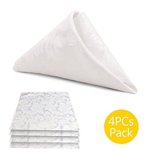 ColorBird Scroll Damask Jacquard Cloth Napkin Waterproof Spillproof Microfiber Fabric Napkins, Set of 4, 17 x 17 Inch, White