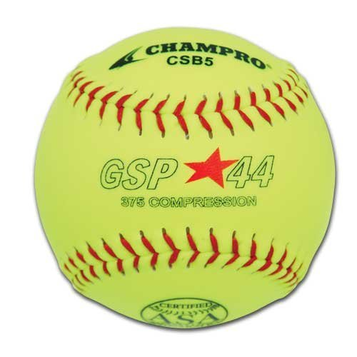 SChampro Game ASA Slow Pitch Softball, Poly Synthetic Cover, Red Stiches (Optic Yellow, 11-Inch)