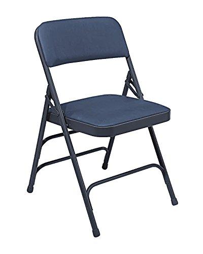(National Public Seat Vinyl Upholstered Premium Folding Chair Triple Brace Double Hinge Blue - 4 Pack electronic consumers)