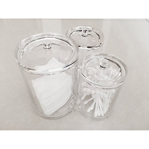 iLory 3pc Clear Acrylic Cotton Ball & Swab Holder Organizer Makeup Cosmetics Pads Q-tip Storage Container Box Case by iLory (Image #4)