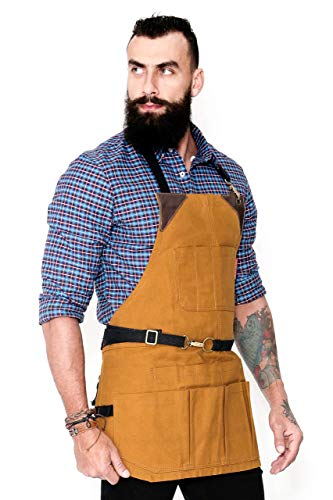 Tool Khaki Apron – Heavy-Duty Waxed Canvas, Leather Reinforcement, Extra Pockets – Adjustable for Men and Women – Pro Mechanic, Woodworker, Blacksmith, Plumber, Electrician, Welder ()