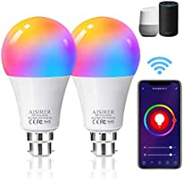 AISIRER Alexa Smart Bulb WiFi Light Bulbs B22 Bayonet, 2 Pack, 10W 1000LM, App or Voice Control, 90W Dimmable White and...