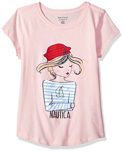 Nautica Big Girls' Short Sleeve Graphic Tee, Girl Light Pink, Large (12/14) (Big Kids Light Pink Apparel)