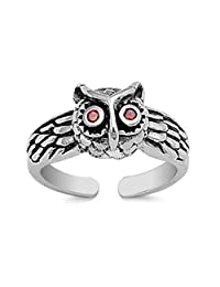 925 Sterling Silver Owl Toe Ring