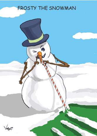 Frosty the Snowman Snorting Lines Christmas Card