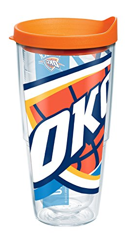 Tervis 1084621 NBA Oklahoma City Thunder Colossal Tumbler with Wrap and Orange Lid 24oz, Clear by Tervis