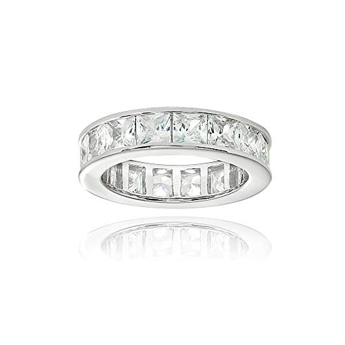Sterling Silver Cubic Zirconia Princess-Cut 4mm Channel Set Polished Eternity Band Ring, Size ()