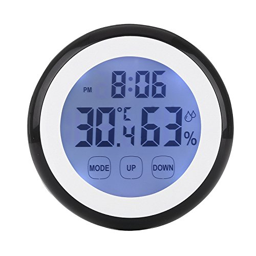 Price comparison product image Zehui Practical Digital Touch Screen Temperature Humidity Clock Hygrometer Thermometer Black