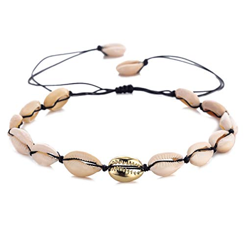 TOMLEE Natural Cowrie Shell Beads Black Wax Rope Handmade Choker Necklace Boho Hawaii Chocker Summer Jewelry for Women Girls Gift (Black & one Gold Shell)