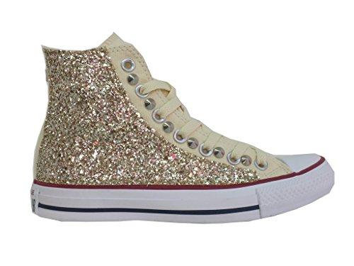 artigianale all White oro Glitter Natural HI Beige prodotto star Converse Borchie Axwvw