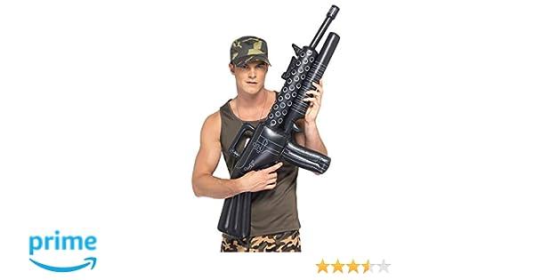 Smiffys-39512 Ametralladora Hinchable, 112cm, Color Negro, No es ...