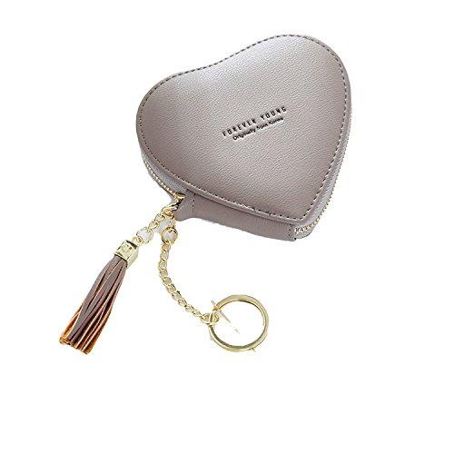 Purse Keychain Ladies Wallet,Dark gray ()