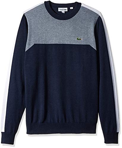 Lacoste Men's Sport Long Sleeve Color Blocked Crewneck Sweater, Navy Light Indigo Blue/White, ()