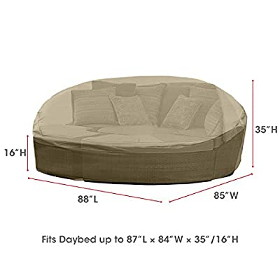 "SunPatio Daybed Cover, Outdoor Round Canopy Daybed Sofa Cover, Patio Furniture Cover, Lightweight, All Weather Resistant Fabric, Helpful Air Vent, 88""L x 85""W x 35""H, Neutral Taupe"