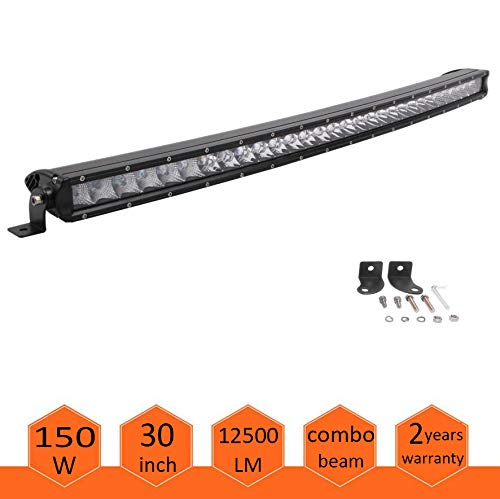 30inch CREE Curved LED Light Bar 150W single Row Spot Flood Combo Driving Lamp LED Work Light for Off Road Truck Car ATV SUV UTE UTV Jeep Boat,IP67 Waterproof (Cree Bars Light)
