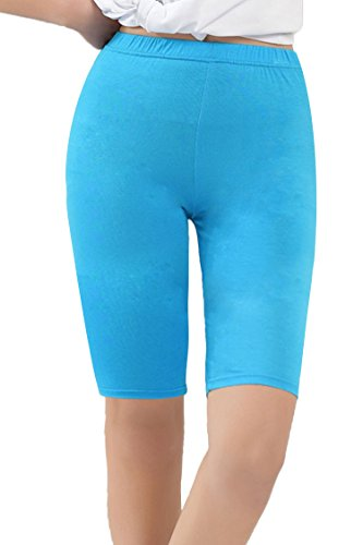 Womens Plus Size Modal Yoga Bike Workout Shorts Soft Comfy Fit Blue US 2X Plus-US 4X Plus