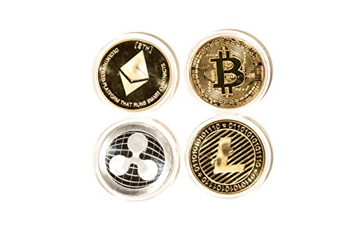 Crypto Deluxe Collector's Set | Limited Edition Silver/Gold Plated Cryptocurrency Collection Novelty Props Toy Coin| Comes w/a Plastic Round Display Case (4 Pack) by xxiii