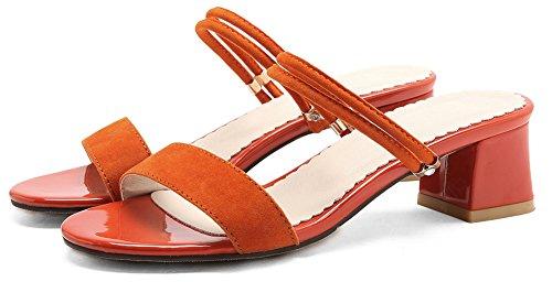Orange Plage Moyen Femme Classique Aisun Coupe Mules Ouverte Talon 1A8nwqp