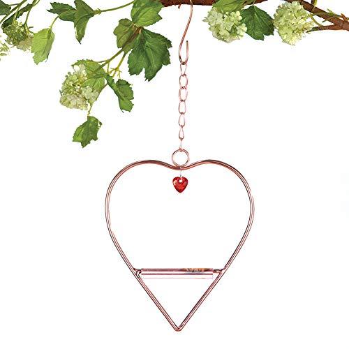Collections Etc Outdoor Hummingbird Heart-Shaped Hanging Swing - Decorative Copper Hummingbird Perch, 5 3/4