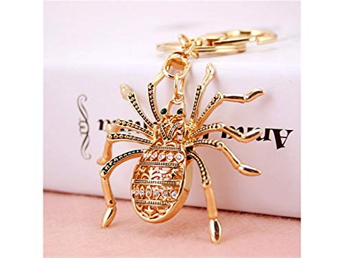Car Keychain, Exquisite Personality Big Spider Keychain Animal Key Trinket Car Bag Key Holder Decorations(Gold) for Gift by Huasen