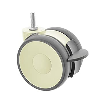 50mm Twin Wheel Furniture Castors with Threaded Stem and Brake Pack of 5 by Ross Castors