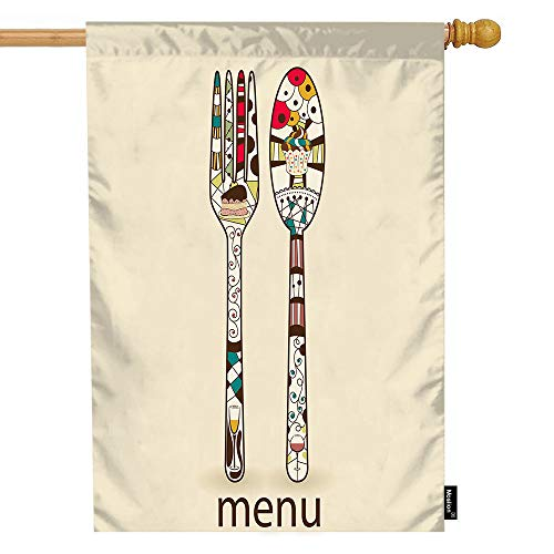Moslion Dinner House Flag Vintage Restaurant Menu Spoon Forks with Colorful Doodle Polka Dot Garden Flags 28x40 Inch Double-Sided Banner Welcome Yard Flag Home Outdoor Decor. Lawn Villa ()