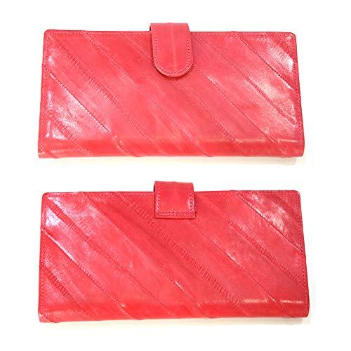 Skin Eel Purse (Genuine Eel Skin Leather Woman Long Wallet Coin Zipper Purse wallet (Pink))