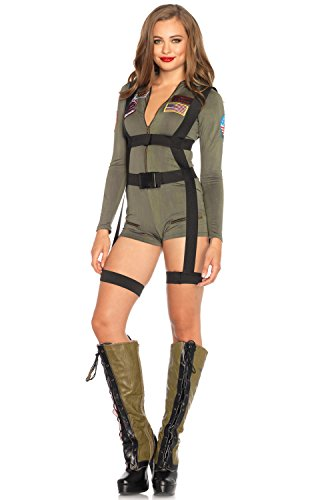 Women's Top Gun Romper Costume with Body Harness - S, M, L