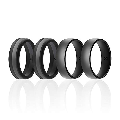 SANXIULY Men's Functional Silicone Ring&Rubber Wedding Bands for Workout and Sports Width 8mm Pack of 4 Size 11