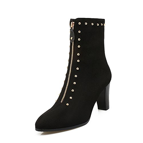 BalaMasa Womens Studded High-Heel Zipper Pointed-Toe Closed-Toe Urethane Boots ABL09805 Black YVDiUH