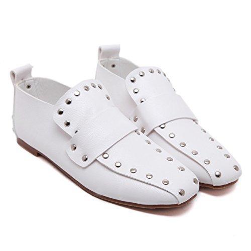 Zapatos Planos De Europa Cuadrada Cabeza Del Remache Retro Estilo Británico Perezoso White