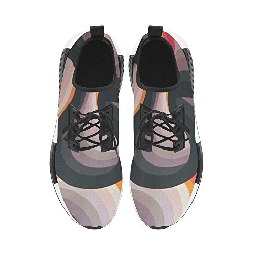 InterestPrint Black And Orange Geometric Pattern Draco Men Sneakers Fitness Trainer Running Shoes 4oHmn