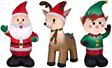 Airblown Inflatable Outdoor Christmas Characters, 3 Piece Set, Santa Claus, Reindeer, Elf